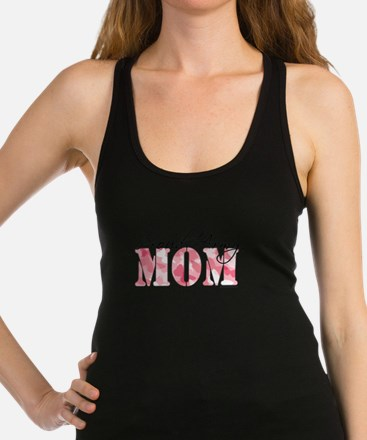 Proud Army Mom (Pink Butterfly Camo) Racerback Tan