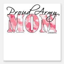 Proud Army Mom (Pink Butterfly Camo) Square Car Ma