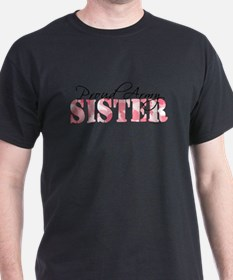 Proud Army Sister (Pink Butterfly Camo) T-Shirt