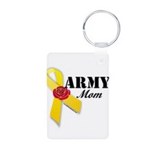 Army Mom (Ribbon Rose) Keychains