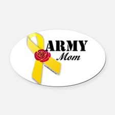 Army Mom (Ribbon Rose) Oval Car Magnet