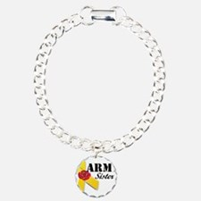 Army Sister (Ribbon Rose) Charm Bracelet, One Char