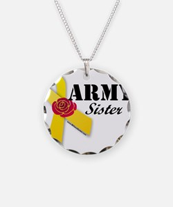 Army Sister (Ribbon Rose) Necklace