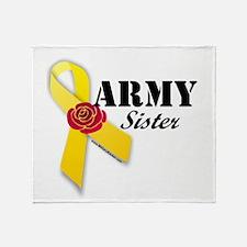 Army Sister (Ribbon Rose) Throw Blanket