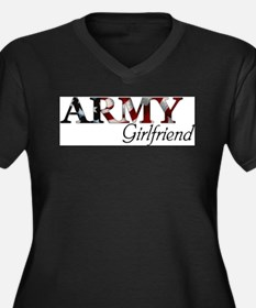 Cute Army girlfriend Women's Plus Size V-Neck Dark T-Shirt