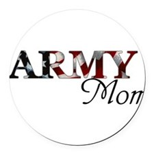 Army Mom (Flag) Round Car Magnet