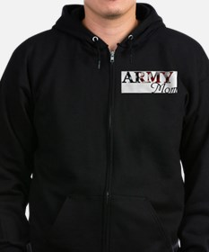 Army Mom (Flag) Zip Hoodie (dark)