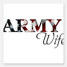 "Unique Army wife Square Car Magnet 3"" x 3"""