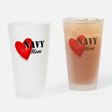 Red Heart_Navy_Mom.png Drinking Glass