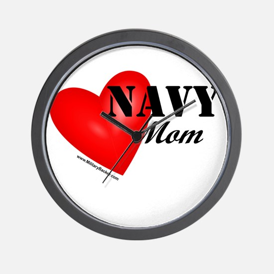 Red Heart_Navy_Mom.png Wall Clock