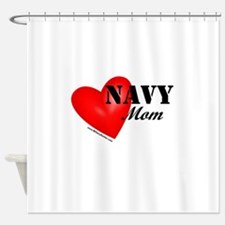 Red Heart_Navy_Mom.png Shower Curtain