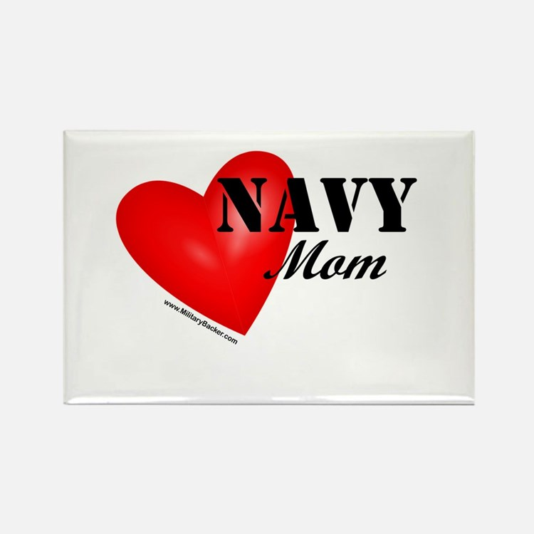 Red Heart_Navy_Mom Magnets