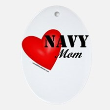 Red Heart_Navy_Mom.png Oval Ornament