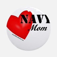 Red Heart_Navy_Mom.png Round Ornament