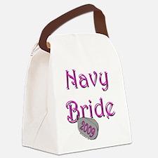 Cute Navy fiancee Canvas Lunch Bag