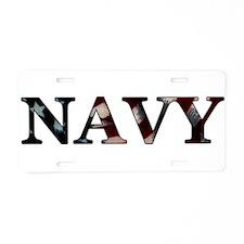 Unique Proud navy mom Aluminum License Plate
