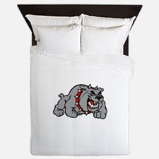 grey bulldog Queen Duvet