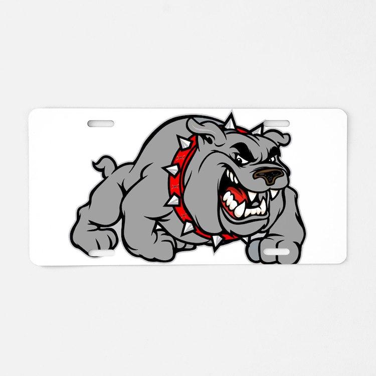 grey bulldog Aluminum License Plate