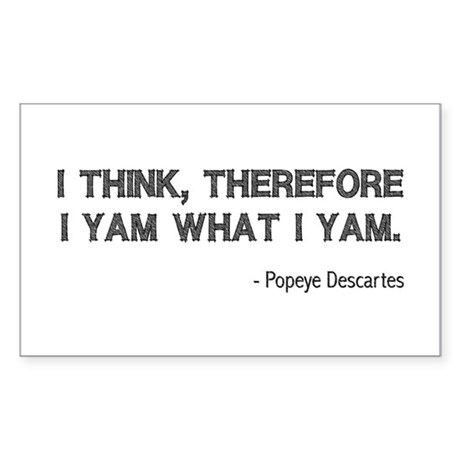 I Think Therefore I Yam Rectangle Sticker