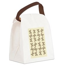 Ivory Gold Golden Butterfly Pattern Canvas Lunch B