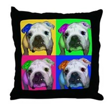 Einstein the English Bulldog Throw Pillow