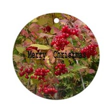 Funny Holly leaves Round Ornament