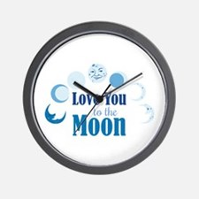 Love You To Moon Wall Clock