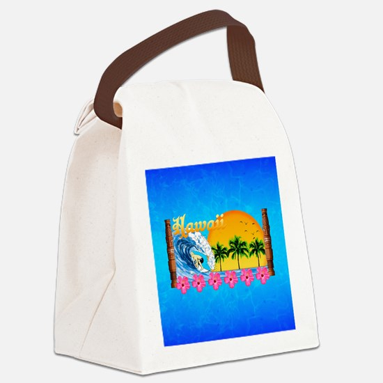 Hawaiian Surfing Canvas Lunch Bag