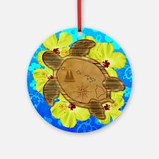Hawaiian Turtle Nautical Map Round Ornament