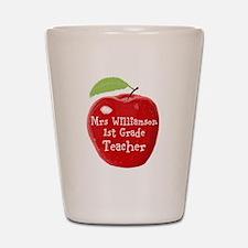 Personalised Teacher Apple Painting Shot Glass