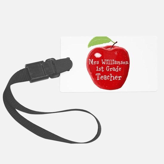 Personalised Teacher Apple Painting Luggage Tag
