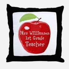 Personalised Teacher Apple Painting Throw Pillow