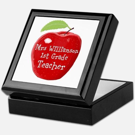 Personalised Teacher Apple Painting Keepsake Box