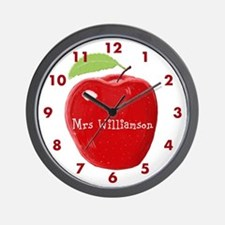 Personalised Teacher Apple Painting Wall Clock