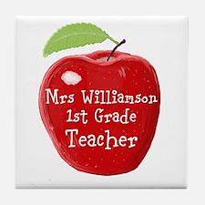 Personalised Teacher Apple Painting Tile Coaster