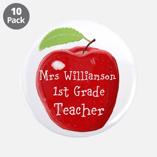 """Personalised Teacher Apple Painting 3.5"""" Button (1"""