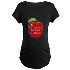 Personalised Teacher Apple Painting Maternity T-Sh