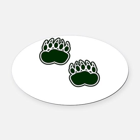 Bear Paws Oval Car Magnet