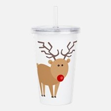 Cute Red Nose Reindeer Christmas Acrylic Double-wa