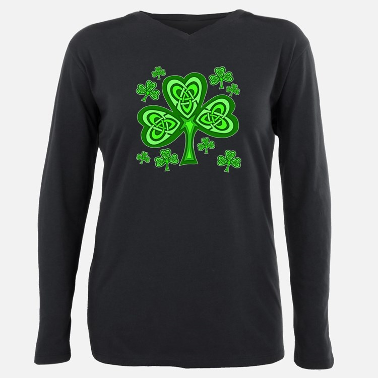 Celtic Shamrocks Plus Size Long Sleeve Tee