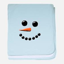 Happy Snowman Face baby blanket