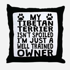 Well Trained Tibetan Terrier Owner Throw Pillow