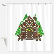 Gingerbread House With Christmas Tr Shower Curtain