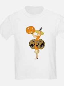 Vintage Halloween Dress with Pumpkin T-Shirt