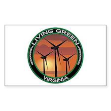 Living Green Virginia Wind Power Sticker (Rectangu