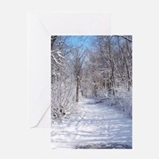 Snow Trail Scenery Greeting Cards