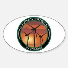 Living Green Wyoming Wind Power Oval Decal
