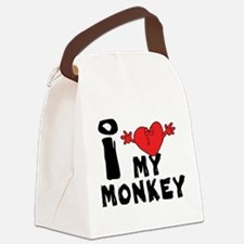 I Love My Monkey Canvas Lunch Bag