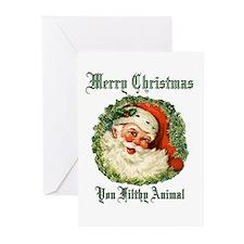 merry christmas ya filthy animal Greeting Cards