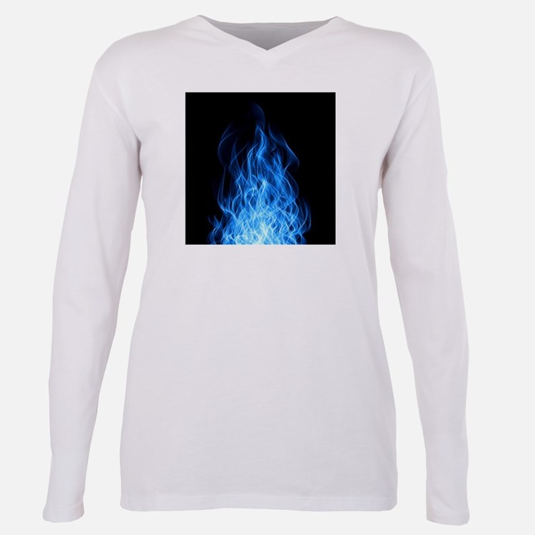 Blue Flames Plus Size Long Sleeve Tee
